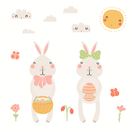 Hand drawn vector illustration of cute Easter bunnies, with basket, eggs, sun, clouds, flowers. Isolated objects on white background. Scandinavian style flat design. Concept for kids print, card.