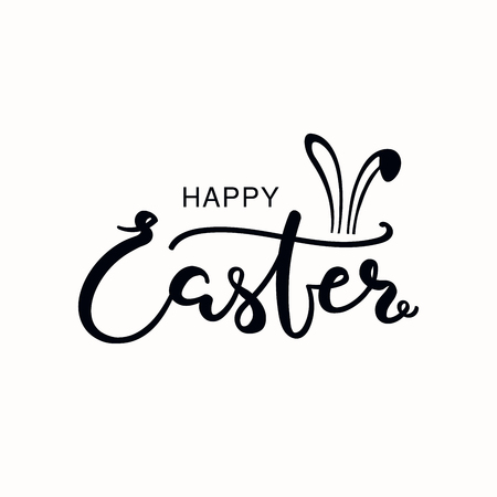 Hand written calligraphic lettering quote Happy Easter, with bunny ears. Isolated objects on white background. Hand drawn vector illustration. Design concept, element for card, banner, invitation.