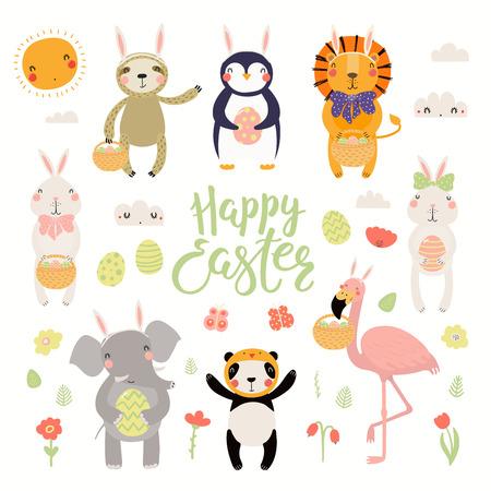 Conjunto de animales lindos flamencos, conejos, pingüinos, perezosos, leones, pandas, elefantes, huevos, texto Feliz Pascua. Objetos aislados. Ilustración de vector dibujado a mano. Concepto de diseño plano de estilo escandinavo para niños.