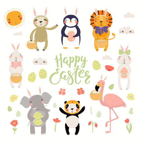Ensemble d'animaux mignons flamant rose, lapin, pingouin, paresseux, lion, panda, éléphant, œufs, texte Joyeuses Pâques. Objets isolés. Illustration vectorielle dessinés à la main. Concept de design plat de style scandinave pour les enfants