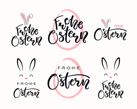 Set of hand written quotes Frohe Ostern, Happy Easter in German, with egg outline, bunny face. Isolated objects on white background. Hand drawn vector illustration. Design concept for card, banner.