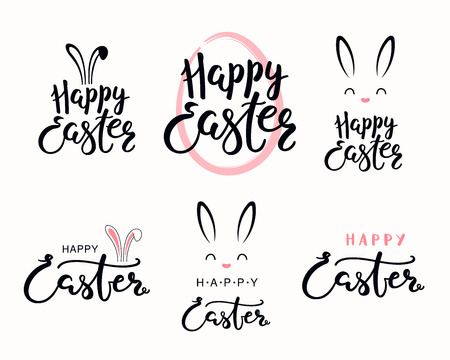 Set of hand written calligraphic lettering quotes Happy Easter, with egg outline, bunny face. Isolated objects on white background. Hand drawn vector illustration. Design concept for card, banner. Stock Vector - 117371833