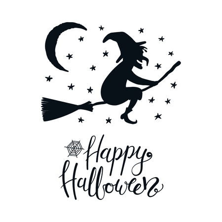 Hand drawn vector illustration of a witch on a broomstick in the night sky, with lettering quote Happy Halloween. Isolated objects on white background. Flat style design. Concept, element card, banner