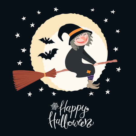 Hand drawn vector illustration of a witch flying on a broomstick in the night sky with bats, moon, lettering quote Happy Halloween. Flat style design. Concept, element for card, banner, kids print.