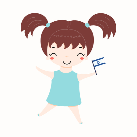 Hand drawn vector illustration of kawaii girl with Israel flag. Isolated objects on white background. Design element for Israel Independence Day poster, banner, greeting card.