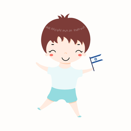Hand drawn vector illustration of kawaii boy with Israel flag. Isolated objects on white background. Design element for Israel Independence Day poster, banner, greeting card.