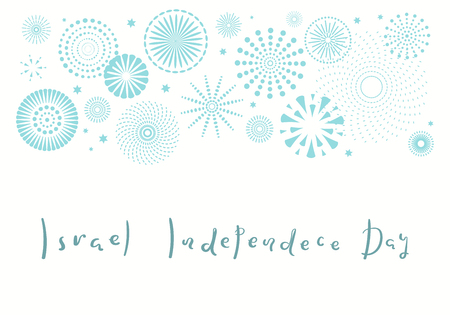 Israel Independence Day card with blue fireworks, confetti, calligraphic lettering quote. Isolated objects on white background. Vector illustration. Design concept, element for poster, banner. 일러스트