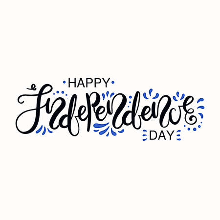 Hand written lettering quote Happy Independence Day with ornament in Israel flag colors. Isolated objects on white background. Vector illustration. Design concept for poster, banner, greeting card.