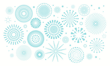 Israel Independence Day background with blue fireworks, confetti. Isolated objects on white. Vector illustration. Design concept, element for poster, banner, greeting card.