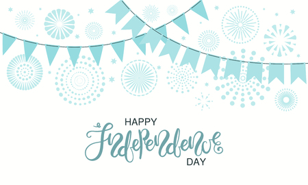 Israel Independence Day card with blue fireworks, confetti, bunting, calligraphic lettering quote. Isolated objects on white background. Vector illustration. Design concept, element for poster, banner