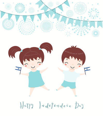 Hand drawn vector illustration of kawaii children with Israel flags, fireworks, bunting, lettering Happy Independence Day. Isolated objects on white background. Design concept for poster, banner, card