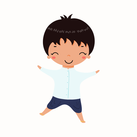 Hand drawn vector illustration of kawaii boy in Thai national costumes. Isolated objects on white background. Design concept for Thailand travel, tourism, traditions.