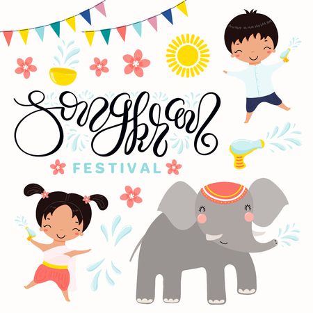 Set of Songkran festival elements, kids in national costumes splashing water, elephant, lettering. Isolated objects on white background. Hand drawn vector illustration. Design concept Thai new year.