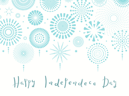 Israel Independence Day card with blue fireworks, confetti, calligraphic lettering quote. Isolated objects on white background. Vector illustration. Design concept, element for poster, banner. Illustration