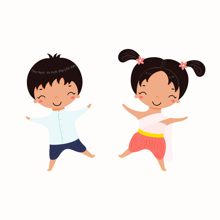 Hand drawn vector illustration of kawaii children, girl and boy, in Thai national costumes. Isolated objects on white background. Design concept for Thailand travel, tourism, traditions. 일러스트