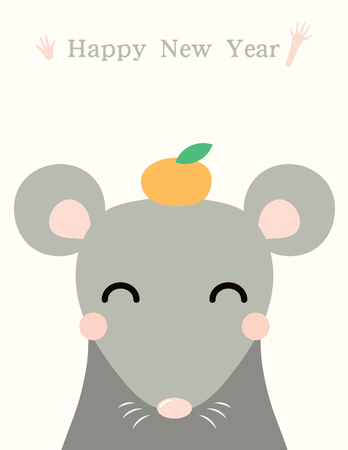 2020 Chinese New Year greeting card with cute rat, text, orange, on white background. Vector illustration. Flat style design. Concept for holiday banner, decor element.