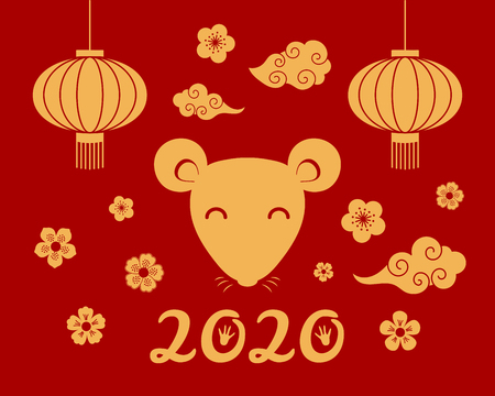 2020 New Year greeting card with cute rat face, lanterns, clouds, flowers, numbers with paw print, gold on red. Vector illustration. Flat style design. Concept for holiday banner, decorative element.