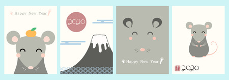 Set of 2020 Chinese New Year greeting cards with cute rats, numbers, text, red stamp with Japanese kanji for Rat. Hand drawn vector illustration. Design concept for holiday banner, decorative element.