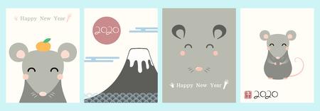 Conjunto de tarjetas de felicitación de año nuevo chino 2020 con lindas ratas, números, texto, sello rojo con kanji japonés para rata. Ilustración de vector dibujado a mano. Concepto de diseño de banner de vacaciones, elemento decorativo. Ilustración de vector