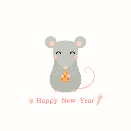 2020 Chinese New Year greeting card with cute rat holding a piece of cheese, text. Isolated objects on white background. Vector illustration. Design concept holiday banner, decorative element.