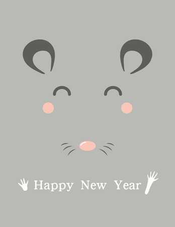 2020 Chinese New Year greeting card with cute rat face, text. Vector illustration. Flat style design. Concept for holiday banner, decorative element.