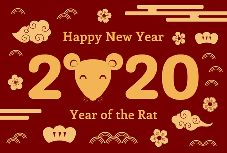 2020 Chinese New Year greeting card with rat face, clouds, flowers, numbers, gold on red. Vector illustration. Flat style design. Concept for holiday banner, decor element. Illustration