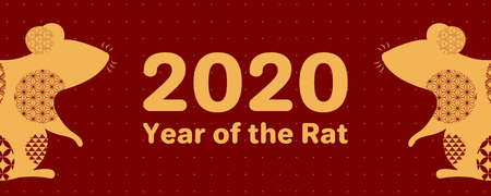 2020 Chinese New Year greeting card with rat silhouette, numbers, gold on red. Vector illustration. Flat style design. Concept for holiday banner, decor element.