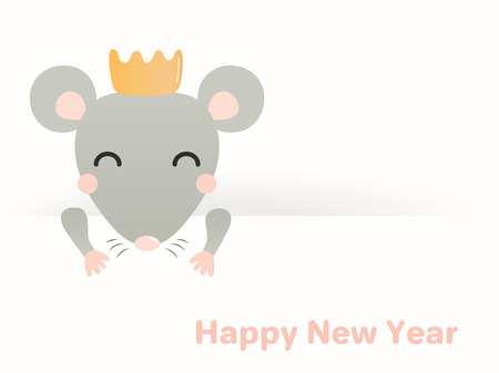 2020 Chinese New Year greeting card with cute rat in a crown. Isolated objects on white background. Vector illustration. Flat style design. Concept holiday banner, decorative element.