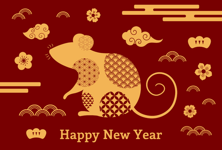 2020 Chinese New Year greeting card with rat silhouette, clouds, flowers, gold on red. Vector illustration. Flat style design. Concept for holiday banner, decor element. Standard-Bild - 124655064