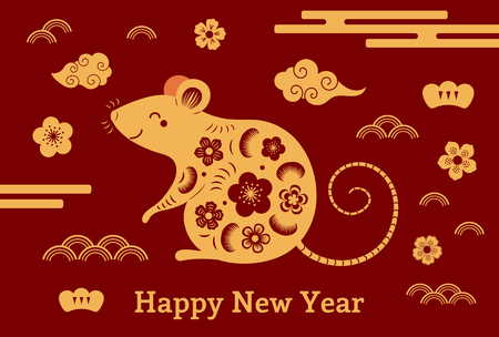 2020 Chinese New Year greeting card with rat silhouette, clouds, flowers, gold on red. Vector illustration. Flat style design. Concept for holiday banner, decor element. Stok Fotoğraf - 124610177