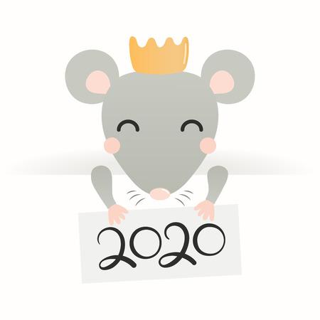 Tarjeta de felicitación de año nuevo chino 2020 con linda rata en una corona con tarjeta con números. Objetos aislados en blanco. Ilustración vectorial. Diseño de estilo plano. Bandera de vacaciones concepto, elemento decorativo. Ilustración de vector