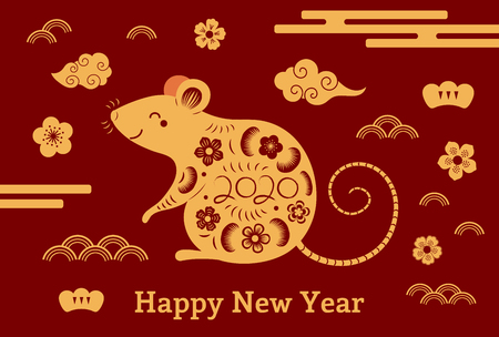 2020 Chinese New Year greeting card with rat silhouette, clouds, flowers, gold on red. Vector illustration. Flat style design. Concept for holiday banner, decor element.