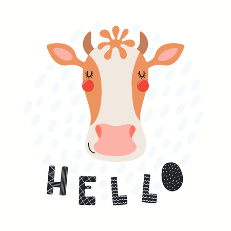 Hand drawn vector illustration of a cute funny cow face, with lettering quote Hello. Isolated objects on white background. Scandinavian style flat design. Concept for children print. Illustration
