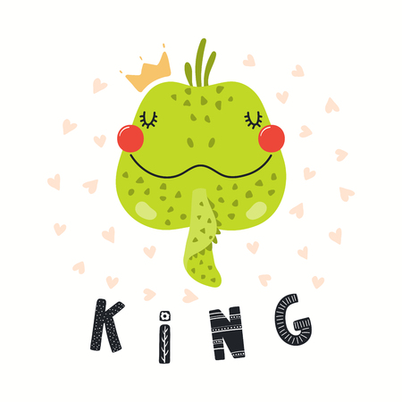 Hand drawn vector illustration of a cute funny iguana in a crown, with lettering quote King. Isolated objects on white background. Scandinavian style flat design. Concept for children print.  イラスト・ベクター素材