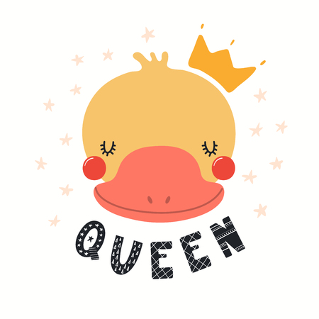 Hand drawn vector illustration of a cute funny duck in a crown, with lettering quote Queen. Isolated objects on white background. Scandinavian style flat design. Concept for children print. Illustration