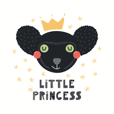 Hand drawn vector illustration of a cute funny indri lemur in a crown, with lettering quote Little princess. Isolated objects on white background. Nordic style flat design. Concept for kids print.