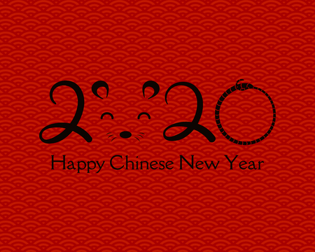 2020 Chinese New Year greeting card with numbers, rat face, on a background with waves pattern. Vector illustration. Design concept for holiday banner, decorative element.