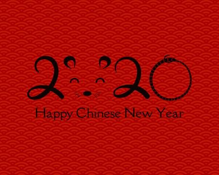 Biglietto di auguri per il capodanno cinese 2020 con numeri, faccia di topo, su uno sfondo con motivo a onde. Illustrazione vettoriale. Concetto di design per banner vacanza, elemento decorativo. Vettoriali