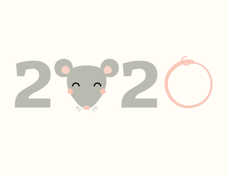 2020 Chinese New Year greeting card with numbers, rat face, rat tail. Vector illustration. Isolated objects on white background. Flat style design. Concept for holiday banner, decorative element.