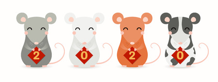 Hand drawn vector illustration of cute little rats holding cards with numbers 2020. Isolated objects on white background. Design element for Chinese New Year greeting card, holiday banner, decor. Ilustração
