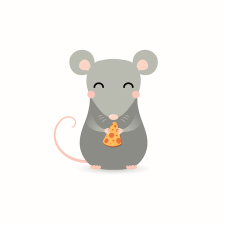 Hand drawn vector illustration of a cute little rat with a piece of cheese. Isolated objects on white background. Flat style design. Concept for Chinese New Year greeting card, holiday banner, decor.