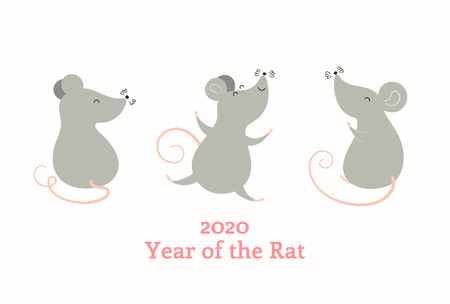 2020 Chinese New Year greeting card with cute rats, text, numbers. Isolated objects on white background. Vector illustration. Flat style design. Concept for holiday banner, decor element. Ilustração
