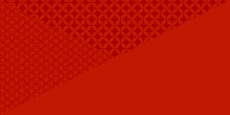 Chinese New Year red background with traditional eastern patterns. Vector illustration. Flat style design. Concept for holiday banner, decor element, greeting card.