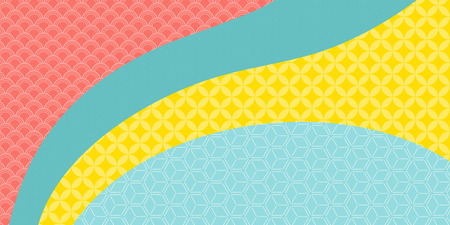 Chinese New Year background with bright traditional eastern patterns, pink, blue, green, yellow. Vector illustration. Flat style design. Concept for holiday banner, decor element, greeting card. Illustration