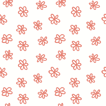 Hand drawn seamless pattern with pink flowers on white background. Vector illustration. Line drawing. Concept for children textile print, wallpaper, wrapping paper.