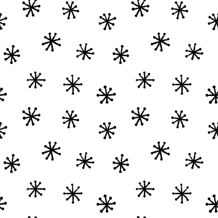 Hand drawn seamless pattern with snowflakes, black on white background. Vector illustration. Line drawing. Concept for children textile print, wallpaper, wrapping paper. Ilustração