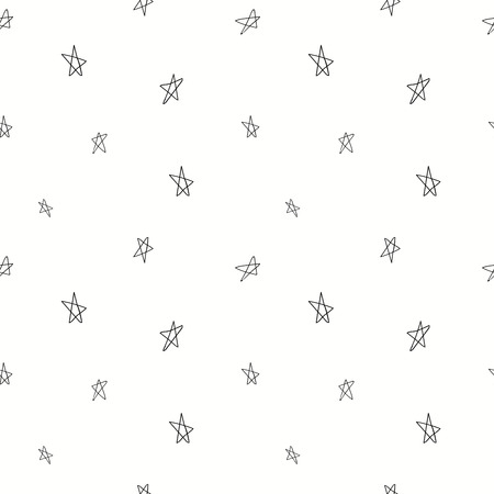 Hand drawn seamless pattern with stars, black on white background. Vector illustration. Line drawing. Concept for children textile print, wallpaper, wrapping paper.