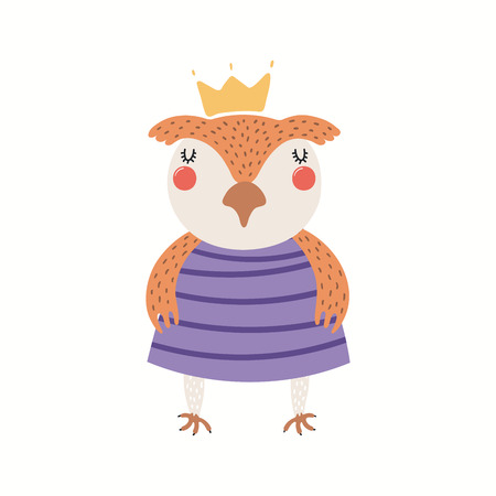 Hand drawn vector illustration of a cute funny owl girl in a dress. Isolated objects on white background. Scandinavian style flat design. Concept for children print.