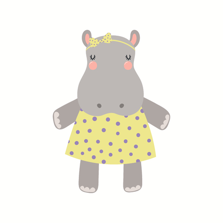 Hand drawn vector illustration of a cute funny hippo girl in a dress. Isolated objects on white background. Scandinavian style flat design. Concept for children print.