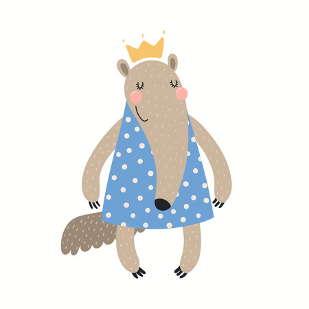 Hand drawn vector illustration of a cute funny anteater girl in a dress. Isolated objects on white background. Scandinavian style flat design. Concept for children print.